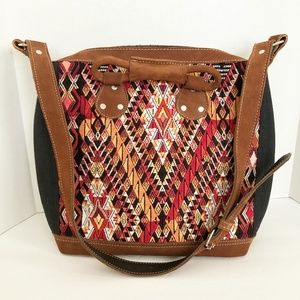 NEW Guatamalan Huipil Leather Bag Crossbody